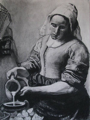 Old Pitcher Drawing - Vermeer's Milkmaid In Charcoal by Art Nomad Sandra  Hansen