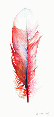 Red Drawing - Vermilion Feather by Willow Heath