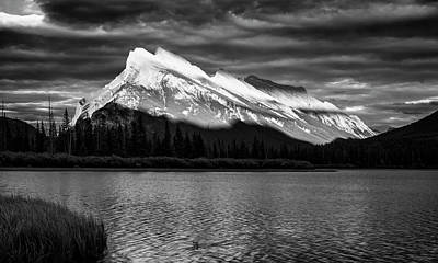 Alberta Photograph - Vermillion Lakes And Mt Rundle Bw by Joan Carroll