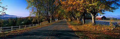 Red Barns Photograph - Vermont Country Road In Autumn by Panoramic Images