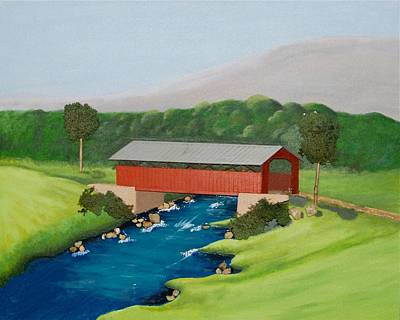 Vermont Covered Bridge Original by Ted Hess