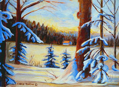Winterscape Painting - Vermont Log Cabin Maple Syrup Time by Carole Spandau
