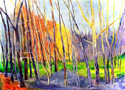 Landscape Oil. Aspen Trees Painting - Vermont Woods by Julia S Powell