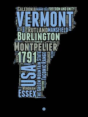 Vermont Word Cloud 1 Print by Naxart Studio