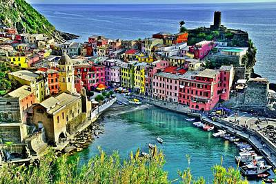 Townscape Photograph - Vernazza Alight by Frozen in Time Fine Art Photography