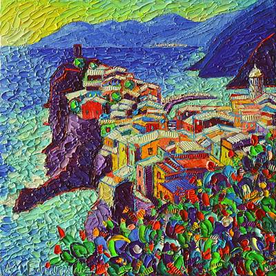 Rooftops Painting - Vernazza Cinque Terre Italy 2 Modern Impressionist Palette Knife Oil Painting By Ana Maria Edulescu  by Ana Maria Edulescu