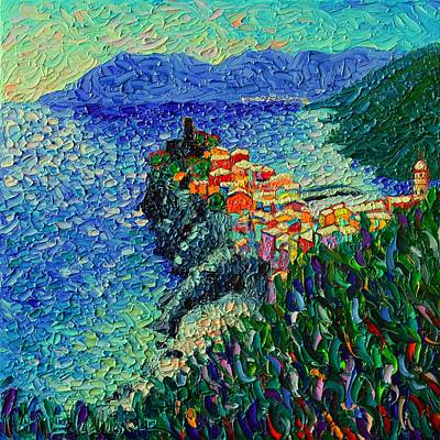 Rooftops Painting - Vernazza Cinque Terre Italy Modern Impressionist Palette Knife Oil Painting By Ana Maria Edulescu    by Ana Maria Edulescu