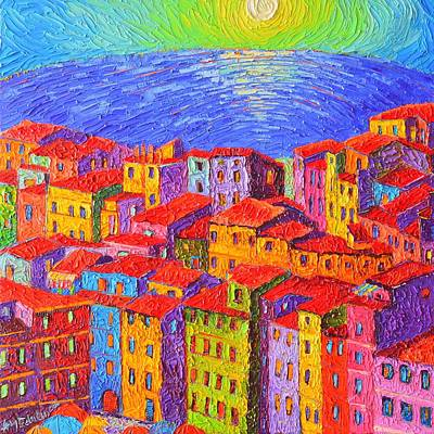 Rooftops Painting - Vernazza Colorful Houses Cinque Terre Italy Impressionist Knife Oil Painting By Ana Maria Edulescu  by Ana Maria Edulescu