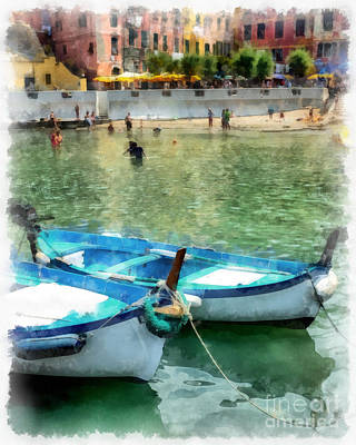 Terra Painting - Vernazza Harbor Cinque Terre Italy by Edward Fielding