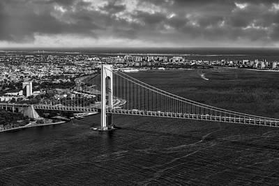 Verrazano Narrows Bridge Nyc Bw Print by Susan Candelario