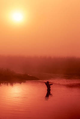Vertical Fly Fishing Silhouette Print by Todd Klassy