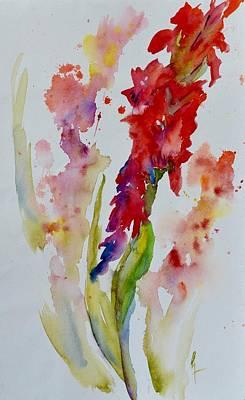 Spring Bulbs Painting - Vertical Red Bloom by Beverley Harper Tinsley