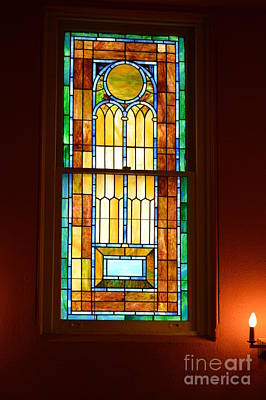 Vertical Stained Glass At The Sixth And I Temple Washington Print by Poet's Eye