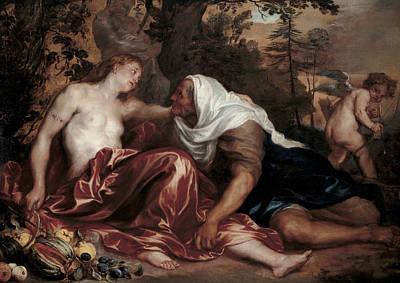 Pomona Painting - Vertumnus And Pomona by Anthony van Dyck