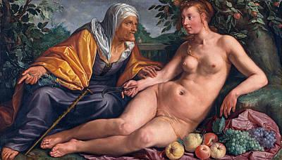 Hendrik Goltzius Painting - Vertumnus And Pomona by Hendrik Goltzius