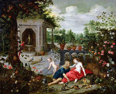 Parrot Painting - Vertumnus And Pomona by Hendrik van the Elder Balen