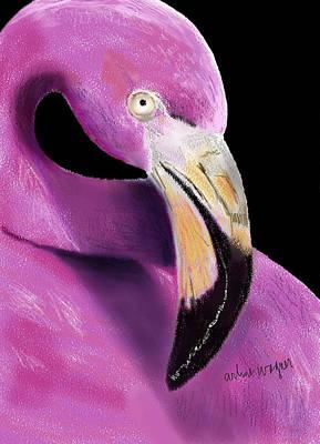 Bird Digital Art - Very Pink Flamingo by Arline Wagner