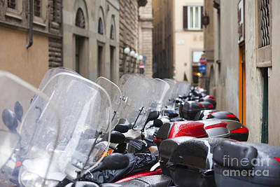 Vespas In Florence Print by Andre Goncalves