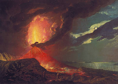 Italian Landscapes Painting - Vesuvius In Eruption, With A View Over The Islands In The Bay Of Naples by Joseph Wright