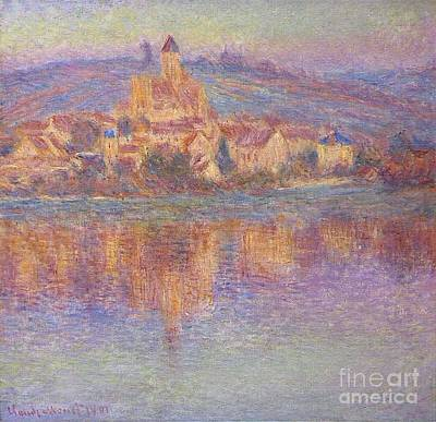 Vetheuil Mixed Media - Vetheuil At Sunset by Monet