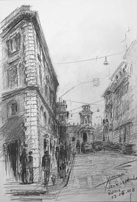 Drawing Drawing - Via Venti Settembre Rome by Ylli Haruni