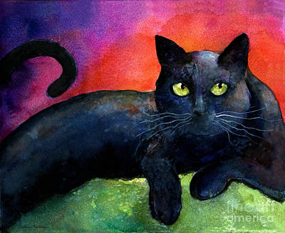 Vibrant Black Cat Watercolor Painting  Print by Svetlana Novikova