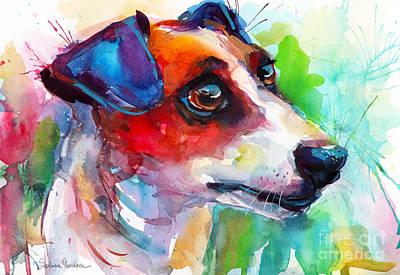 Painting - Vibrant Jack Russell Terrier Dog by Svetlana Novikova