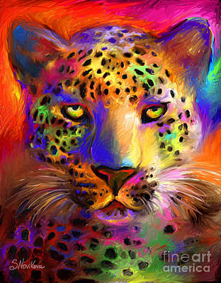 Pet Portrait Digital Art - Vibrant Leopard Painting by Svetlana Novikova