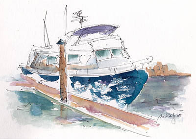 Docks And Boat Painting - Vic Harbor Boat by Pat Katz