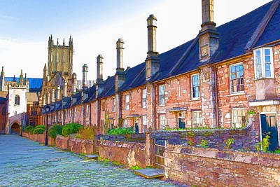 Vicars Close Photograph - Vicars Close Next To Wells Cathedral Somerset England With Wells Cathedral In The Background by Michael Charles
