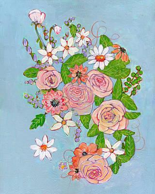 Spring Painting - Victoria Rose Flowers by Blenda Studio