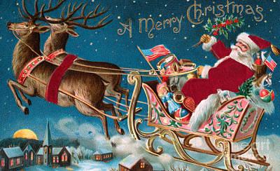 Victorian Christmas Card Print by American School