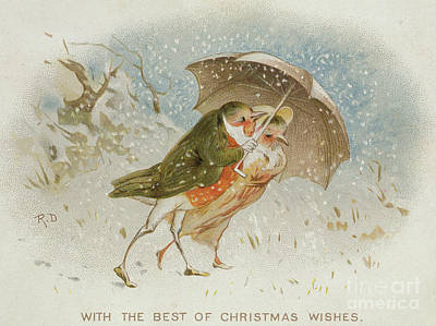 Snow Storm Drawing - Victorian Christmas Card by Robert Dudley