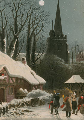 Trombone Drawing - Victorian Christmas Scene With Band Playing In The Snow by John Brandard