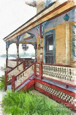 Victorian Cottage Weirs Beach Laconia New Hampshire Print by Edward Fielding