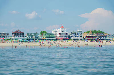 Seascape Photograph - Victorian Mansions On Cape May Beach by Bill Cannon
