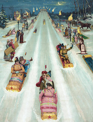 Sports Drawing - Victorian Poster Of Night Sledding by American School