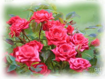 Victorian Rose Garden - Digital Painting Print by Carol Groenen