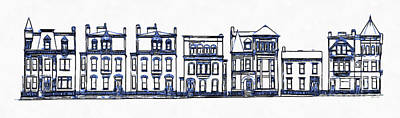 Old Town Drawing - Victorian Row Houses by Edward Fielding