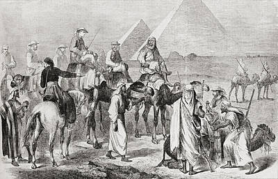 Camel Drawing - Victorian Tourists At The Pyramids by Vintage Design Pics