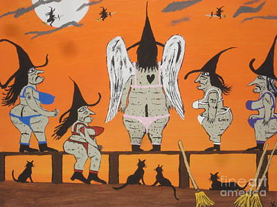 Witch Cat Painting - Victoria's Secret Witches by Jeffrey Koss