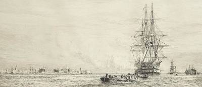Victory Lying In The Harbour At Portsmouth Print by William Lionel