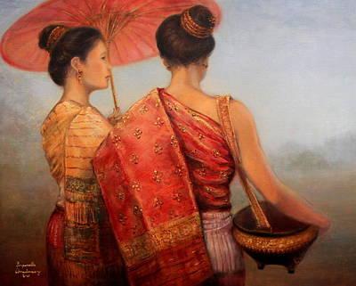 Laos Painting - Viengchan And Luang Prabang by Sompaseuth Chounlamany