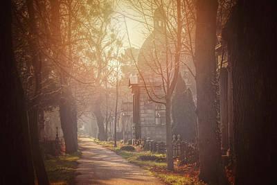 Gravestone Photograph - Vienna Zentralfriedhof In Winter  by Carol Japp