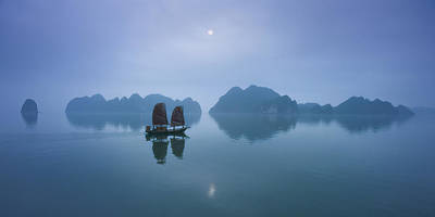 Vietnam, Halong Bay, Fishing Junk, Sunset Print by Daryl Benson