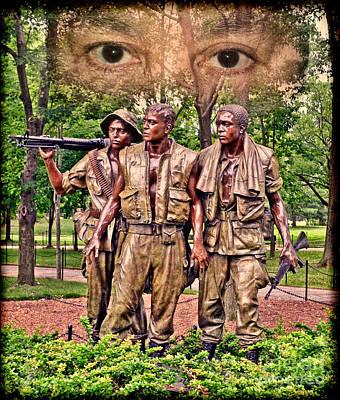 Washington D.c Drawing - Vietnam War Memorial Three Servicemen Statue In Washington D.c. Altered Version IIi by Jim Fitzpatrick