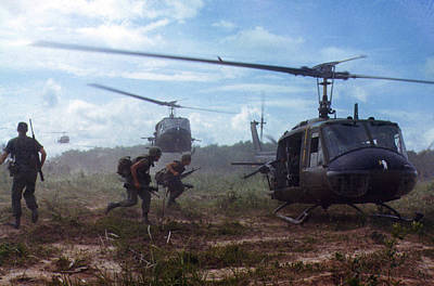 Helicopter Photograph - Vietnam War, Uh-1d Helicopters Airlift by Everett
