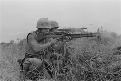 Photograph - Vietnam War. Us Marine Machine Gunner by Everett
