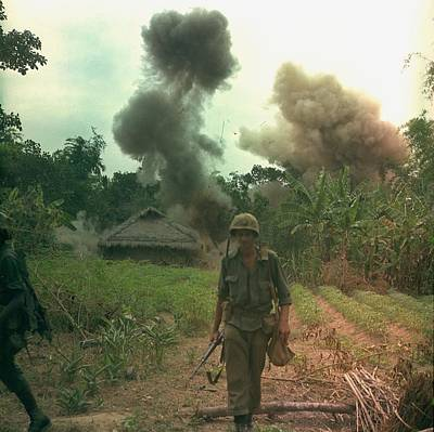 Vietnam War. Us Marines Walk Away Print by Everett