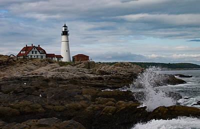 View Across The Rocky Maine Coastline Print by Jeff Folger